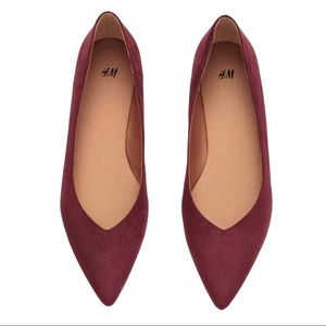H&M Burgundy Pointed Toes Flats